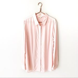 Boden | Silk Blush Pink Button Up Blouse Size 16